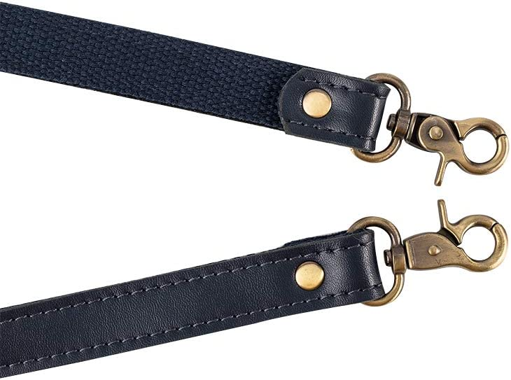 SUPERDANT 2PCS 22.8 inches Genuine Leather Purse Handles,Bag Replacement Straps with Alloy Clasps,Black