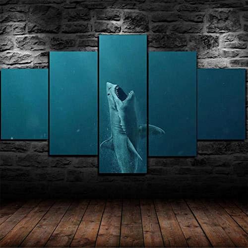 IMXBTQA Mit Rahmen Vlies Leinwanddrucke 5 Teilig Kunstdruck Leinwand Bild XXL Format Wandbilder Wohnzimmer Wohnung Deko 125X60Cm,Der Meg Shark Attack Im Meer Geschenk