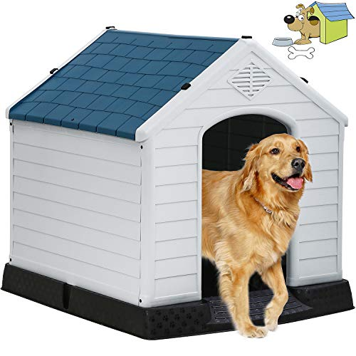 Indoor Outdoor Dog House Big Dog House Plastic Dog Houses for Small Medium Large...