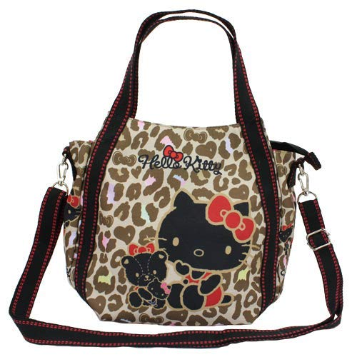 MARUSHIN Sanrio Tote Bag Hello Kitty Black with Leopard Pattern 4612