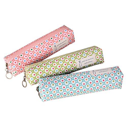 Dosige 3 Piezas Bolso de fieltro de fieltro de tela impreso japonés bolso de escritorio de almacenamiento de caso de lápiz de cremallera punto lindo de la onda Colores aleatorios y diversos 20.5*4*5cm