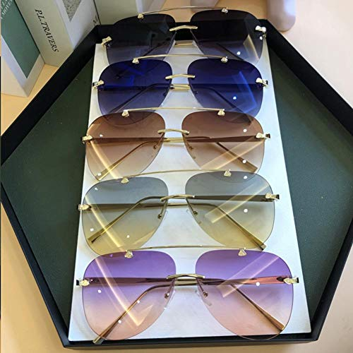 XMYNB Gafas de Sol Gafas de Sol polarizadas Aviación De Aleación De Aleación Sin Marco Retro De Los Hombres Aviator Gafas De Sol Gafas De Sol De Gradiente Gafas De Sol Ovaladas De Metal para Mujer