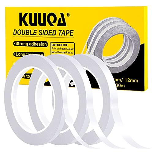 Kuuqa 3 Rollen Doppelseitiges Klebeband Set Starke Klebeband für Büro DIY Handwerk, 30 Meter Lange, Breite 6mm / 9mm / 12mm