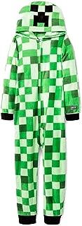 Mojang Boy's Mob Creeper Fleece Hooded Union Suit Pajama Sleeper (Medium, 8)