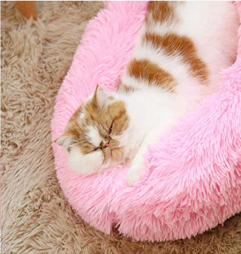 GLF Warm Round Dog Kennel Puppy Nest Snuggle With Faux Fur Pillow Sofa Cushions for Dogs Washable Pet Bed for Dog Cat in Winter, Pink, 60cm