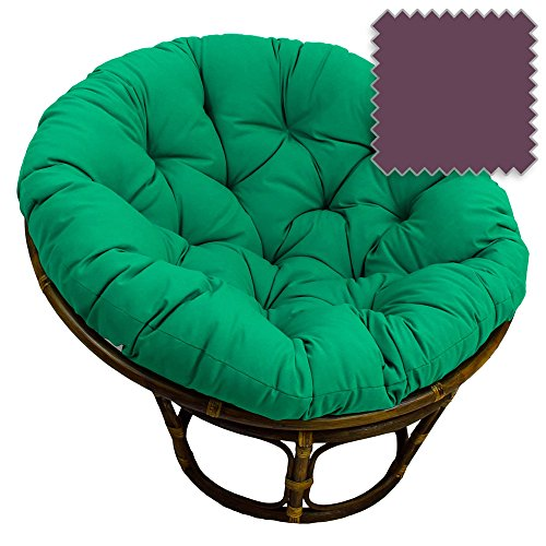 DCG Stores 42-Inch Bali Rattan Papasan Chair with Cushion - Solid Twill Fabric, Grape Exclusive