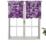 Hiiiman Cortina opaca para ventana con bolsillo para barra, diseño de flores lilas en primavera, romántica, elegante, prado feliz, juego de 2, 42 x 36 pulgadas para sala de estar, cortina corta recta