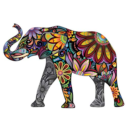 Good Luck Elephant Wall Sticker - Peel and Stick Wall Decal by My Wonderful Walls (40″w X 28″h & Left-Facing)