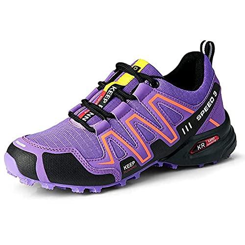 MIAOML Zapatos De Senderismo para Mujer Zapatillas De Escalada Calzado Alpinismo, Zapatos De Excursionismo para Actividades Al Aire Libre, Excursionismo,Purple-36 EU