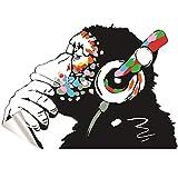 Banksy Pared Calco Vinilo Mono con Auriculares/Chimpancé Escucha para la Música en Auriculares/Calle Arte Grafiti Pegatina + Gratis Adhesivo Regalo - 60 x 41 cm