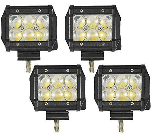 ALPHA DIMA 4pcs 18W 4D 90-Grad LED Scheinwerfer Arbeitsscheinwerfer Offroad Zusatzscheinwerfer Bar Car LED Work Light Auto Arbeitsleuchte Offroad Zusatzscheinwerfer 12V 24V IP67 Schwarz