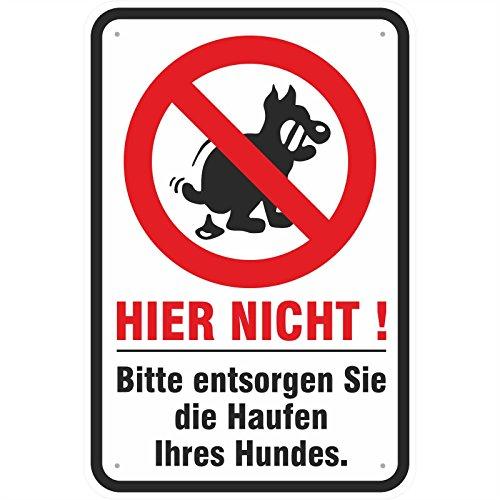 Schild Hundehaufen entsorgen Hundekot verboten 200 x 300 mm aus Aluminium-Verbundmaterial 3mm stark