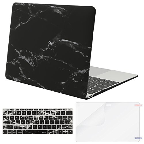 MOSISO Plastic Pattern Hard Shell Case & Keyboard Cover & Screen Protector Compatible with MacBook 12 inch with Retina Display (Model A1534, Release 2017 2016 2015), Black Marble