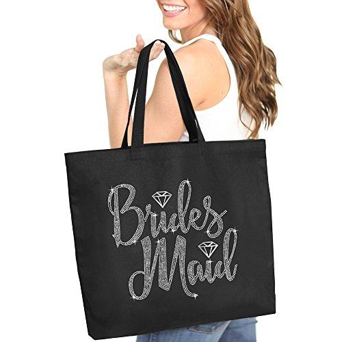 Bridesmaid Diamond Rhinestone Tote Bag - Bridal Shower Gift & Accessories Bride Tote - Black Tote(Brdmd RS) BLK