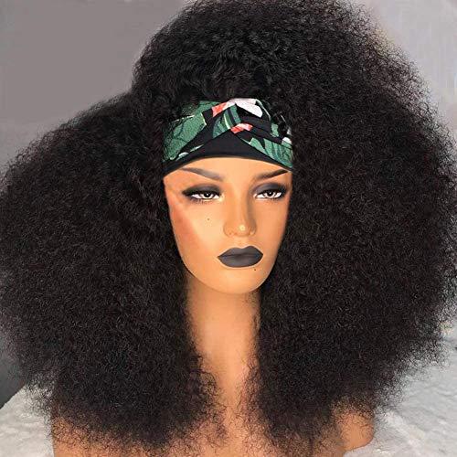 Kinky Curly Headband Human Hair Wigs for Black Women MSGEM Brazilian Virgin Hair None Lace Front Machine Made Wigs Human Hair Headband Half Wig 18 inch 150% Density
