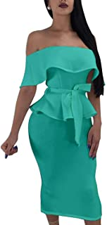 Elegant Women's Dresses Bodycon Midi - Wrap V Neck Batwing Sleeves Pencil Dresses