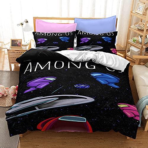 Bedclothes-Blanket Funda nórdica Funda de Colcha,Tres Conjuntos de Kits de Cama de Dibujos Animados de impresión Digital 3D-15_203cmx228cm