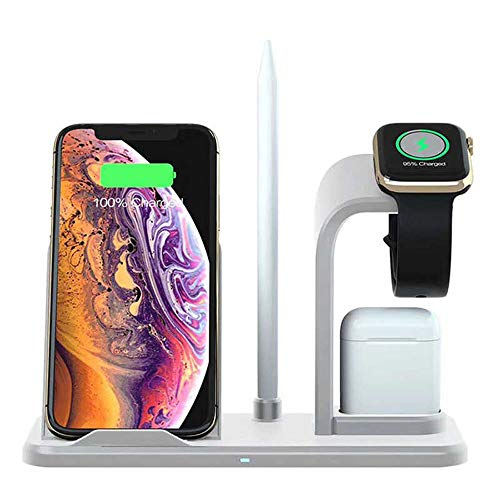 3 in 1 Wireless Charging Station for Multiple Devices - Qi Wireless Charger for iPhone, Apple Watch and Airpods – Fast Wireless Charger Stand Compatible iPhone XR X XS Max 8 Plus iWatch Dock (White)