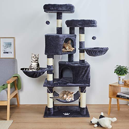 MSmask 145cm Kratzbaum Kletterbaum Stabil Mehrere Ebenen Plattform für Grosse Katzen mit groß Höhle, Sisal-Stämme, Natur Sisal Katzenkratzbaum (dunkelgrau)
