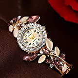 Flower Bracelet Watches Women Alloy Watchband Quartz-Watch Women's Dress Crystal Dial Wristwatch Lady (Pink)