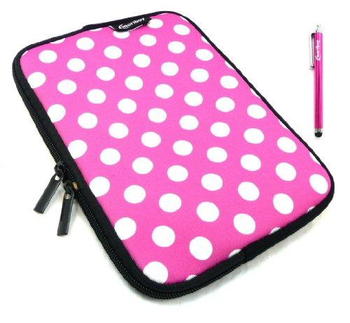 Emartbuy® Rosa Stylus + Tupfen Rosa / Weiß Wasser Resistant Neoprene Weich Zip Hülle Cover Tasche Hülle Sleeve Für I.onik TP - 1200QC 7.85 Inch Tablet (8 -Zoll-Tablet )