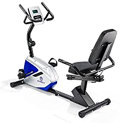 Eight resistance levels; battery powered, no mains needed; for users between 5 ft 2 Inch - 6 ft 4 Inch; seven length adjustable seat 1.5 Inch thick 42 cm wide foam seat for comfort ; easy access step-through frame; low seat height; flip-out stand for...