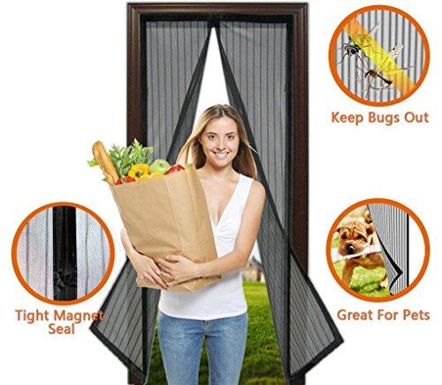 OKCS Fliegengitter Tür Insektenschutz - Magnetischer Balkontür, Terrassentür Insektenschutz Moskitonetz Türvorhang 100 cm x 205 cm - Schwarz