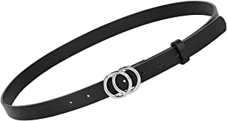 Women's Leather Skinny Belts for Dress Jeans Pants Fashion Soft Leather Waist Belts with Double O-Ring Buckle,B-Black-Silv...