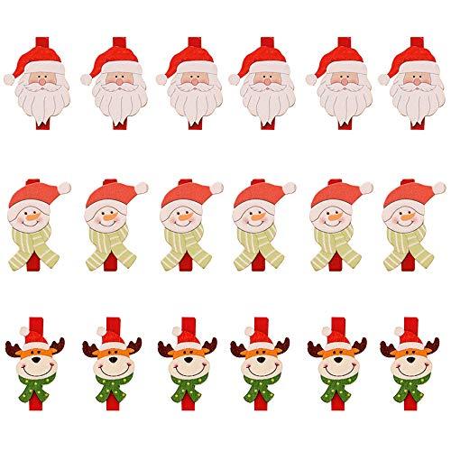 18 x Weihnachtsklammern aus Holz, Baumdekoration, Weihnachtskartenhalter für Fotos (Weihnachtsmann, Schneemann, Rentier)