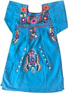 Vestito estivo per ragazza - vestito per bambina 1 anno - vestito di fiori ricamati - vestito messicano