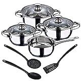 San Ignacio Batería de cocina 7 piezas en acero inoxidable + Set 3pcs Utensilios de cocina en nylon, PK3372