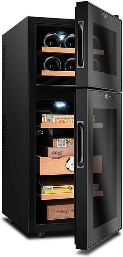 BOXIAO Gabinete de cigarro electrónico, gabinete de cigarro hidratante de Temperatura Constante, gabinete de Vino, cigarro Doble y gabinete de Vino