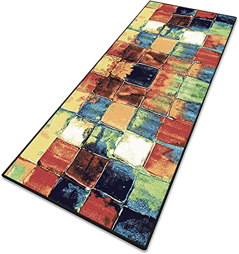 Teppich Wohnzimmer Teppich Flur Lang Teppiche Modern 6mm rutschfest & leicht abwaschbar für Wohnzimmer, Flur, Büro, Schlafzimmer, Küche, Esszimmer gekettelt - 60x400cm