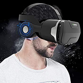 """3D Virtual Reality Headset Tsanglight 3D VR Glasses Viewer + Headphone for iOS iPhone 11 Pro/XR/XS/X/8/8+/7/7+/6/6S/6S+ Android Samsung Galaxy S10E/S9/S8/S7 Edge/S7/S6 & Other 4.0-6.0"""" Cellphone"""