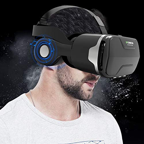 """3D Virtual Reality Headset, Gafas Virtuales VR Glasses Headset + Headphone for iOS iPhone 13 12 11 Pro/XR/XS/X/8/8+/7/7+/6S/6S+, Android Samsung Galaxy S10E/S9/S8/S7/S6 Edge & More 4.0-6.0"""" Cellphone"""