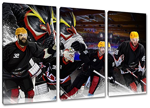 Bremerhaven Eishockey, Fan Artikel Leinwandbild 3Teiler Gesamtmaß 120x80cm, Auf Holzrahmen gespannt, Kein Poster oder billig Plakat, Must Have für echte Fans