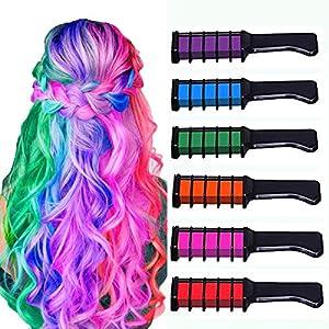 6 colores Hair Chalk Peines de Tiza de Colores para el Pelo, Temporal Cabello Tiza No Tóxico Lavables Color para el Pelo Teñido, Fiesta, Navidad, Cumpleaños y Cosplay Niñas y Niños Regalos