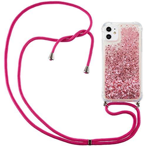 XINYUNEW Funda con Cuerda Compatible con iPhone 12/iPhone 12 Pro 6.1,Glitter Liquid Carcasa Líquido iPhone 12 Pro 6.1,Correa Colgante Ajustable Collar Correa de Cuello Cadena Cordón,Rose