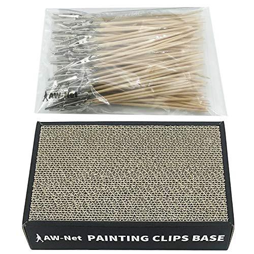 AW-Net 日本製 塗装ベース 塗装棒 セット プラモデル フィギュア 塗装 ペイント エアブラシ (塗装ベース+100本)