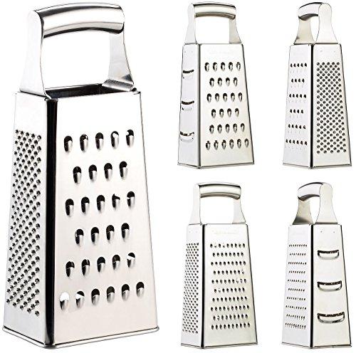 Rosenstein & Söhne Küchenreibe: Hochwertige Vierkantreibe aus Edelstahl mit extra scharfen Reiben (Gurkenhobel)