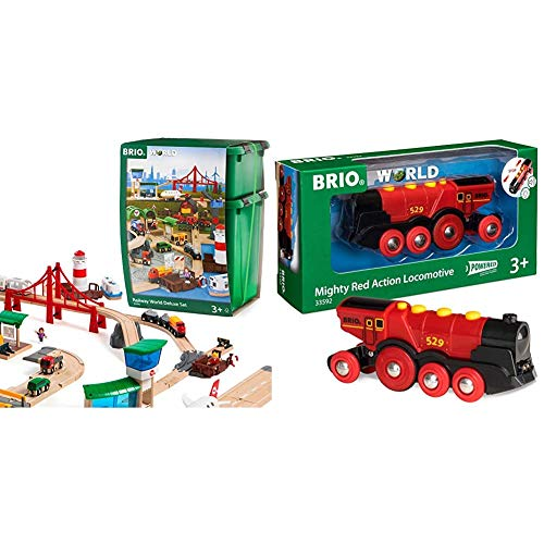 Brio World 33766 Railway World Deluxe Set | Wooden Toy Train Set & World 33592 Mighty Red Action Locomotive | Battery Operated Toy Train with Light and Sound Effects for Kids Age 3 and Up