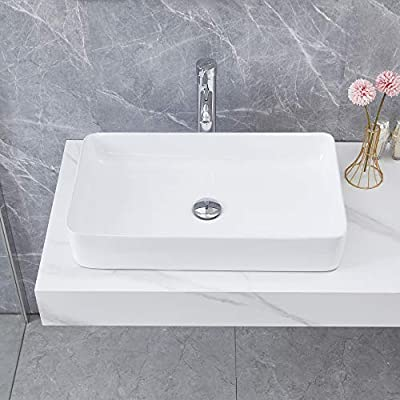24x14x4.3 Inch Bathroom Sink with Pop Up Drain Combo Porcelain White Rectangle Ceramic Vessel Sink, Above Counter Vanity Bowl Vessel Sink for Lavatory Cabinet