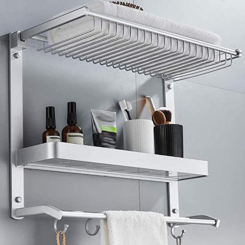 QOHG Toally Rack Space Rack de Almacenamiento de Toallas de Aluminio, batería de Pared de Esquina Redonda Lisa y Estante de Toalla de Cocina