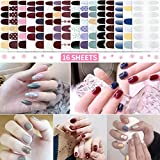 16 Sheets Full Nail Art Polish Stickers Decal Nail Wraps Prue Color Nail Polish Strips Adhesive False Nail Design Manicure Set with 1Pc Nail Buffers Files for Women Girls