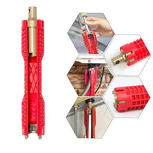 Fortspang Clé à Pipe Multi-usages, Changez Loutil De Robinet Outil de réparation pour Robinet et évier Plombier Clé à Douille Outils de plomberie Clé à Tuyau pour Cuisine (rouge)