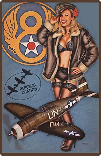 Cartel de Chapa genérica 20 x 30 cm Sexy Pinup Airforce Avión de Caza Fleugzeug Cazador Escudo