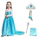 Disfraz de Elsa - flor con corona - varita - guantes - trenza - niña - azul - disfraz - carnaval - halloween - princesa - talla 100-2/3 años - idea de regalo de cumpleaños de navidad