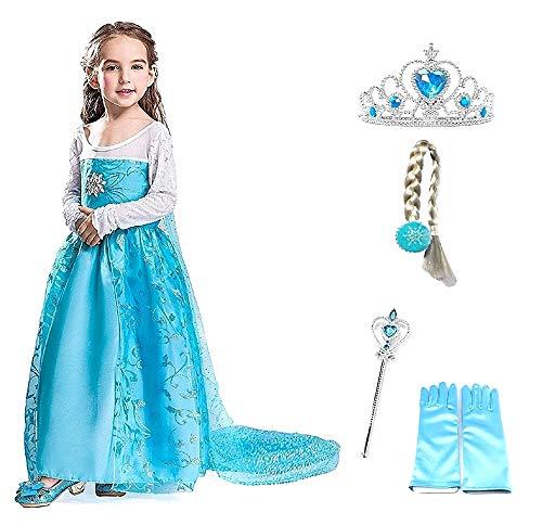 Costume Elsa Frozen - Fiore con Corona - Bacchetta - Guanti - Treccia - Bambina - blu - Travestimento - Carnevale - Halloween - Principessa - Taglia 100-2 - 3 anni - Idea regalo natale compleanno