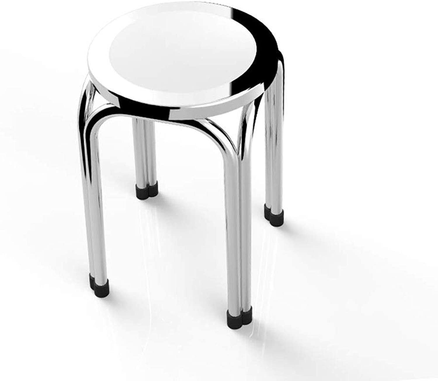 ZDYUY Stainless Steel Folding Stool Table Stool Home Stool Round Dining Chair High Bench
