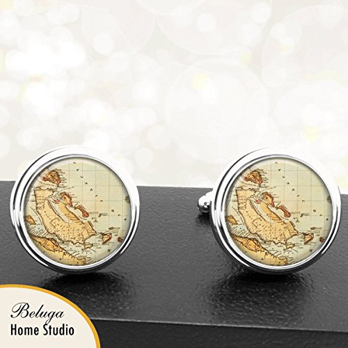 Map Cufflinks The Bahamas Antique Map Handmade Cuff Links